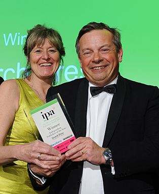Caroline and Martin winning the IPA Best Publisher of the Year 2015 award